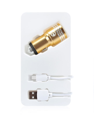 (4538) MOCOLO 2xUSB FAST CHARGER GOLD LOADER + TYPE-C CABLE WHITE